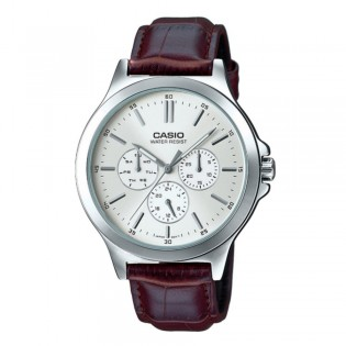 Casio MTP-V300L-7AUDF Original Men's Analog Quartz Multifunction Day & Date Leather Silver Watch MTP-V300L-7A