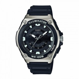 Casio MWC-100H-1AVDF Original Men's Analog Quartz LED Light Resin Black Watch MWC-100H-1A