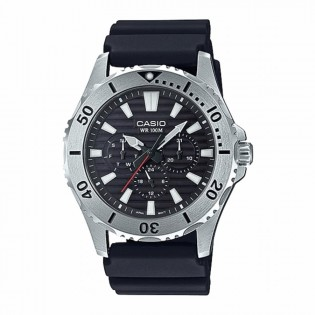 Casio MTD-1086-1AVDF Original Men's Marine Sports Diver Quartz Multifunction Day Date Display Resin Band Watch MTD-1086-1A