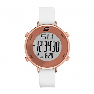 Skechers SR6066 Women's Quartz Digital Rose Gold Steel and Silicone Strap White Girl Watch