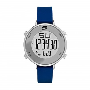 Skechers SR6067 Women's Quartz Digital Stainless Steel and Silicone Blue Strap Girl Watch