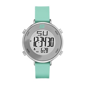 Skechers SR6070 Women's Quartz Digital Stainless Steel and Silicone Green Strap Girl Watch