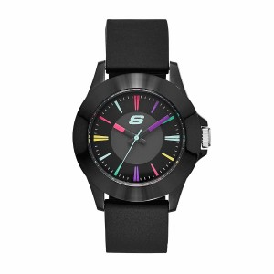 Skechers SR6079 Women's Rosencrans Mid Size Quartz Plastic Silicone Strap Girl Black Watch