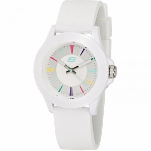 Skechers SR6080 Women's Rosencrans Mid Size Quartz Plastic Silicone Strap Girl White Watch