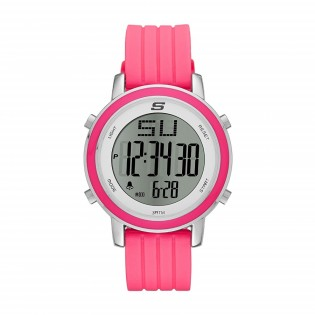 Skechers SR6013 Women's Digital Stainless Steel Pink Silicone Strap Girl Watch