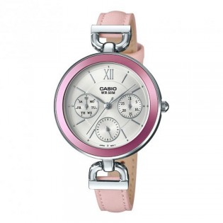 Casio LTP-E406L-4AVDF Original Women's Enticer Multifunction Day and Date Leather Watch LTP-E406L-4A