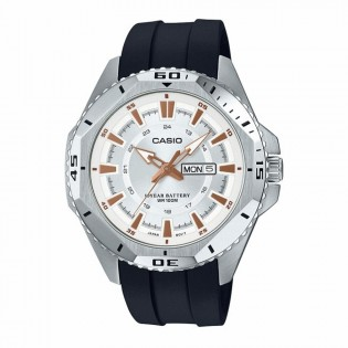 Casio MTD-1085-7AVDF Original Men's Diver Analog Quartz Day Date 10 Years Battery Resin Watch MTD-1085-7A