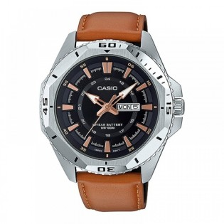 Casio MTD-1085L-1AVDF Original Men's Diver Analog Quartz Day Date 10 Years Battery Leather Watch MTD-1085L-1A