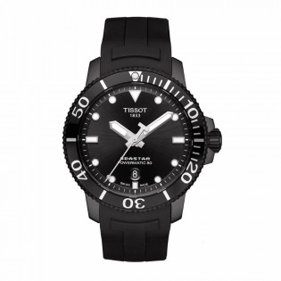 Tissot T120.407.37.051.00 Men's Seastar 1000 Powermatic 80 Automatic Diver Full Black Rubber Strap Watch