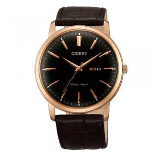 Orient CUG1R004B Man Classic Quartz Analog Date Day Rose Gold Toned Leather Watch UG1R004B