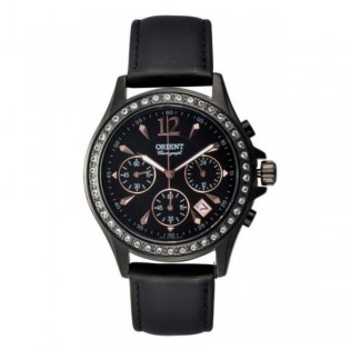 Orient CTW00001B Woman Dressy Chronograph Quartz Black Leather Strap Watch TW00001B