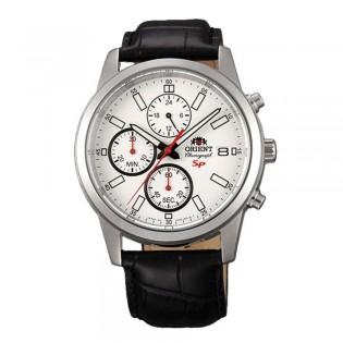 Orient CKU00006W Man Sporty Quartz Chronograph Leather Strap Watch KU00006W