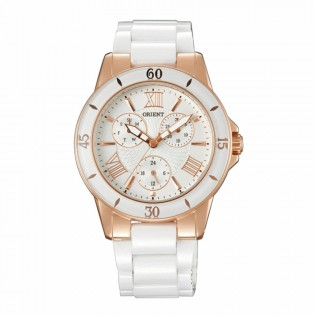 Orient CUT0F001W Woman Fashionable Quartz Multifunction Date Day Display White Ceramic Band Dress Watch UT0F001W