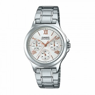 Casio LTP-V300D-7A2UDF Woman Quartz Multifunction Day and Date Display Steel Dress Watch LTP-V300D-7A2