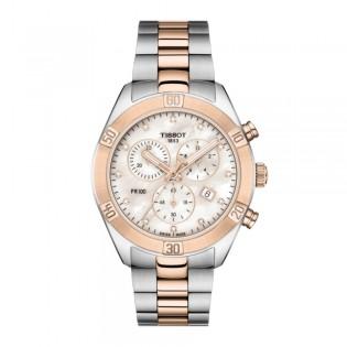 Tissot T101.917.22.116.00 Women's PR 100 Sport Chick Chronograph Diamond Index Swiss Made Steel Lady Watch