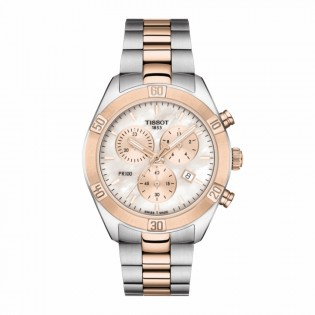 Tissot T101.917.22.151.00 Women's PR 100 Sport Chick Chronograph Pearl Dial Swiss Made Steel Lady Watch