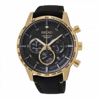 Seiko SSB364P1 Men's Chronograph Black Gold Plated Steel Nylon Strap Man Watch