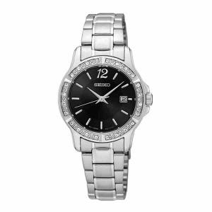 Seiko SUR719P1 Women's Analog Quartz Diamond Accent Stainless Steel Watch