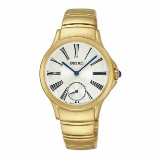 Seiko SRKZ56P1 Women's Quartz Small Second Gold Plated Steel Lady Dress Watch