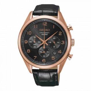 Seiko SSB296P1 Men's Chronograph Date Display Rose Gold Leather Strap Dress Watch