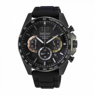 Seiko SSB349P1 Men's Neo Sport Chronograph Full Black Silicone Band Watch