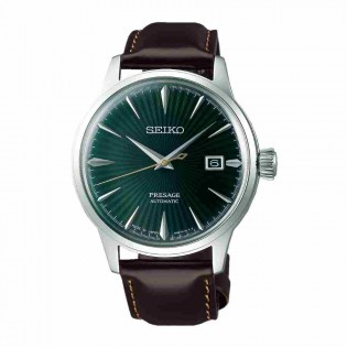 Seiko SRPD37J1 Men's Presage Cocktail Automatic Emerald Green Dial Leather Band Watch