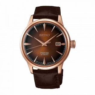 Seiko SRPB46J1 Men's Presage Cocktail Automatic Brown Dial Leather Band Watch