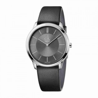 Calvin Klein CK K3M211C4 Men's Minimal 40mm Quartz Analog Leather Strap Fashion Dress Watch