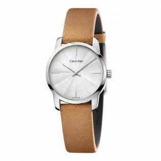 Calvin Klein CK K2G231G6 Women's City 31mm Quartz Analog Leather Strap Fasion Dress Watch
