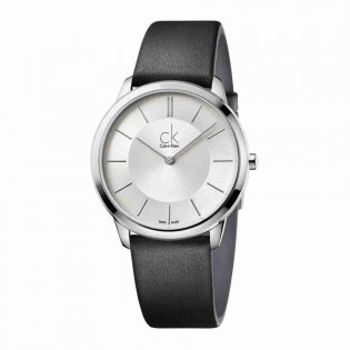 Calvin Klein CK K3M211C6 Men's Minimal 40mm Large Quartz Analog Leather Strap Fashion Dress Watch