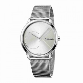 Calvin Klein CK K3M2112Z Men's Minimal 40mm Large Quartz Analog Mesh Steel Bracelet Fashion Dress Watch