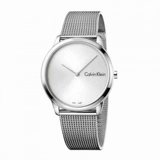 Calvin Klein CK K3M211Y6 Men's Minimal 40mm Large Quartz Analog Mesh Steel Bracelet Fashion Dress Watch
