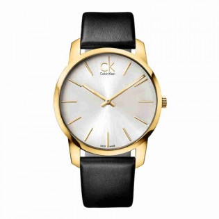 Calvin Klein CK K2G21520 Men's City 43mm Quartz Analog Leather Strap Fashion Dress Watch