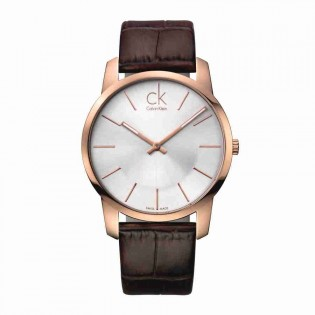 Calvin Klein CK K2G21629 Men's City 43mm Quartz Analog Leather Strap Fashion Dress Watch