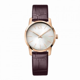 Calvin Klein CK K2G23620 Women's City 30mm Quartz Analog Leather Strap Fashion Dress Watch