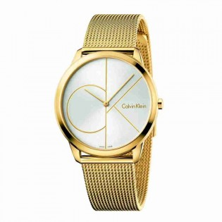 Calvin Klein CK K3M21526 Men's Minimal 40mm Large Quartz Gold Steel Mesh Bracelet Fashion Dress Watch