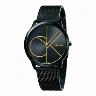 Calvin Klein CK K3M214X1 Men's Minimal 40mm Large Quartz Black Steel Mesh Bracelet Fashion Dress Watch