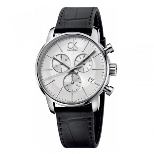 Calvin Klein CK K2G271C6 Men's City 43mm Chronograph Date Display Leather Dress Formal Watch