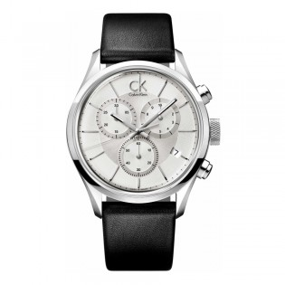 Calvin Klein CK K2H27120 Men's Masculine 42mm Chronograph Leather Strap Formal Fashion Watch