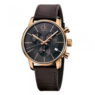 Calvin Klein CK K2G276G3 Men's City 43mm Chronograph Date Display Leather Dress Formal Watch