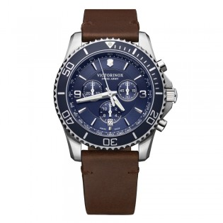 Victorinox Swiss Army 241865 Men's Marverick Chronograph Quartz Leather Strap Swiss Made Watch