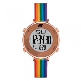 [100% ORIGINAL] Skechers SR6188 Women's Rainband Digital Rainbow Silicone Strap Watch