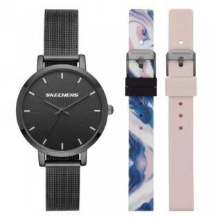 [100% ORIGINAL] Skechers SR9028 Women's Box Set Analog Quartz Mesh Metal Bracelet with 2 FREE Silicone Strap Box Set