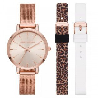 [100% ORIGINAL] Skechers SR9029 Women's Box Set Analog Quartz Mesh Metal Bracelet with 2 FREE Silicone Strap Box Set