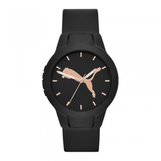 Puma 100% Original P1006 Women's Reset V2 36mm Three Hand Quartz Black Polyurethane Strap Sport & Fashion Unisex Watch