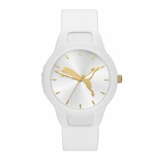 Puma 100% Original P1013 Women's Reset V2 36mm Three Hand Quartz White Polyurethane Strap Sport & Fashion Unisex Watch