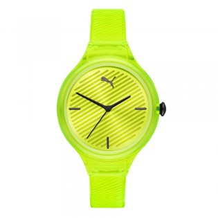 Puma 100% Original P1017 Women's Contour 36mm Three Hand Quartz Yellow Polyurethane Strap Sport & Fashion Watch