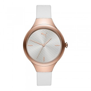 Puma 100% Original P1018 Women's Contour 36mm Three Hand Quartz Rose Gold Polyurethane Strap Sport & Fashion Watch