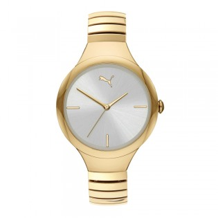 Puma 100% Original P1027 Women's Contour 36mm Three Hand Quartz Gold Plated Steel Case Bracelet Sport & Fashion Watch