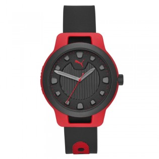 Puma 100% Original P5001 Men's Reset Three Hand Quartz Black Silicone Strap Sport & Fashion Watch